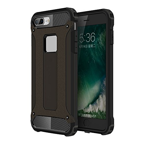 iPhone 8 Plus Custodia, 2-in-1 Cases Protettivo Estrema Assorbimento-Urti Armatura Cover Per iPhone 8 Plus. (Bianco) Nero