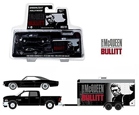 NEW 1:64 GREENLIGHT HOLLYWOOD HITCH & TOW SERIES 2 COLLECTION - STEVE MCQUEEN BULLITT - BLACK 2016 RAM 2500 & 1968 DODGE CHARGER R/T Truck Diecast Model Car By