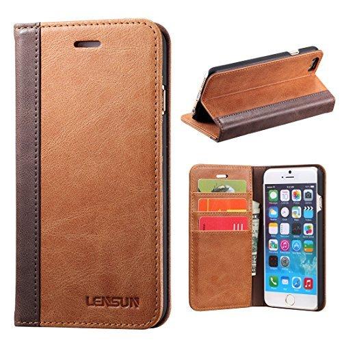 LENSUN iPhone 6 Plus Hülle iPhone 6s Plus Hülle, Handyhülle Handytasche iPhone 6 Plus / 6s Plus (5.5 Zoll) Leder Huelle Tasche Flip Case Ledertasche Schutzhülle - Braun (6P-FG-BN)