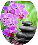 Sticker Autocollant Abattant WC Galets Orchidée 35x42cm SAWC0389