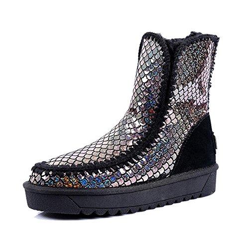 Femme Martin Boots Wsxy5213 Créatif Hiver Supérieur Vintage Series, Kjjde Noir