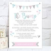 """Personalised Baby Shower """"A Message From The Bump"""" Poem Table Sign (BS1)"""
