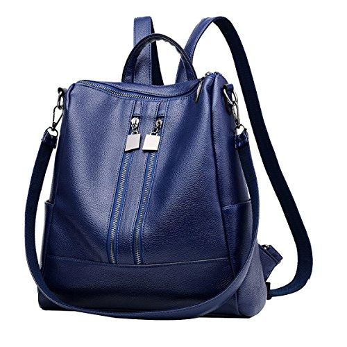 Le Donne Della Moda Laptop Zipper Zaino PU Tracolla In Pelle Borsa Zaino Multicolore Blue