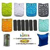 LilBit Lot de 6couches lavables et réutilisables pour bébé - Réglables avec des boutons pression - Inserts en charbon de bambou - Gris anthracite