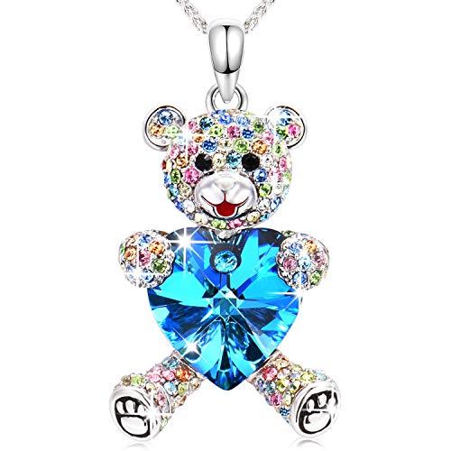 Halsketten für Frauen Conmisun Teddybär Anhänger Damen Schmuck Kette mit Swarovski Steinen,Kommt in Geschenkbox,Weihnachtsgeschenke, Allergenfrei Nickelfrei,Bestanden SGS Test,45+5CM (Blue)