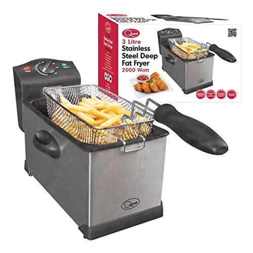 512AlR DJ2L. SS500  - Quest 35140 Stainless Steel Deep Fat Fryer, 3 Litre, 2000W, 40x18x25cm, Silver