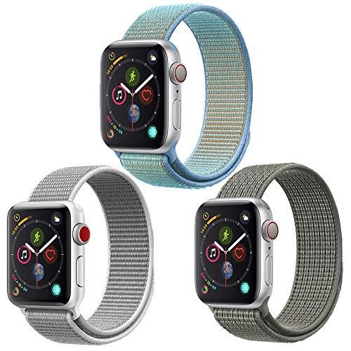 Artchros Watch Armband 44mm/42mm für Applo Watch Series 5/4/3/2/1,Weiches Nylon Ersatz Uhrenarmband 42mm für iWatch Series 3/2/1 (3er Pack für 42/44mm, Silber/Hellblau/Armeegrün)