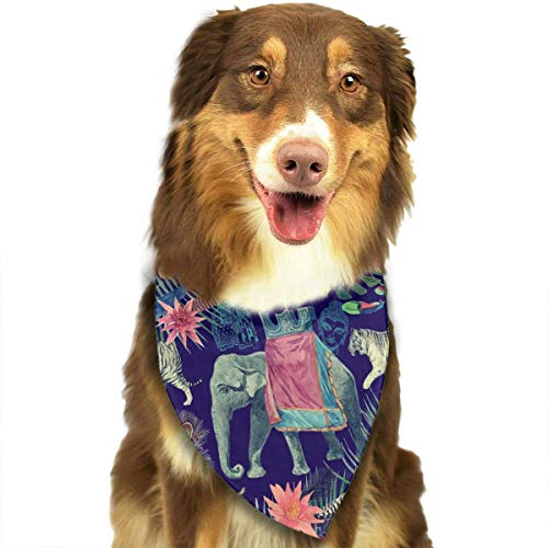 hanjianqu Washable Ethnic Wind Elephant and Tiger Triangle Unique and Never out of Date Bandana Scarves Accessories for Pet Cats and Dogs - Gifts