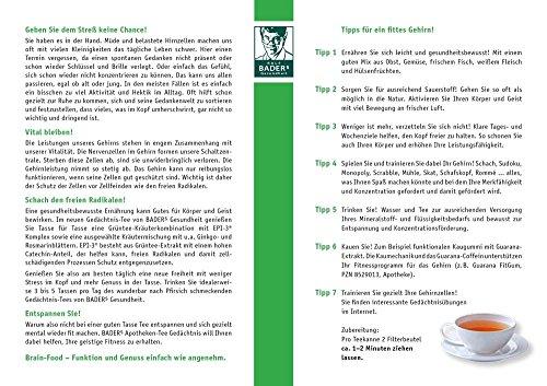 BADERs Apotheken Tee Gedächtnis. Grüner Tee mit zusätzlichem Grüntee-Extrakt, Melisse und Ginkgo. Köstlicher Geschmack mit Pfirsicharoma. 20 Filterbeutel. PZN 001179490