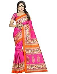KBF Women Cotton Silk Saree With Blouse Piece (Pink_Free Size)