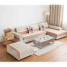 Sofá de lino cubierta,Con estilo y simple,Antideslizante,Funda de cojín antideslizante sofá,Protector de muebles decorativos de estilo nórdico seccional-F 110x110cm(43x43inch)