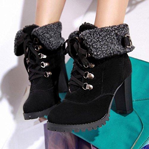 Tefamore Donna Casuale Inverno Punta Rotonda Felpa Allacciare Tacco Alto Caviglia Stivali Nero