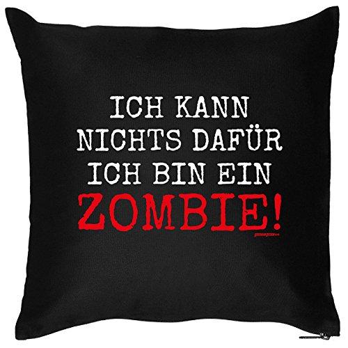 Kissen mit Halloween Motiv: Ich kann nichts dafür, ich bin ein Zombie! - Halloween Deko für das Wohnzimmer - Couch - Sofa - schwarz