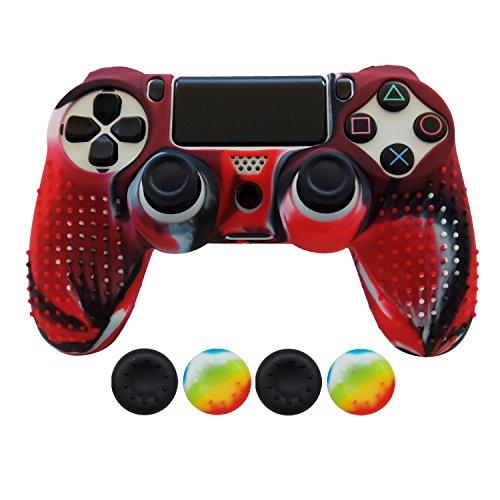 Stöcke Gummi-kappen Für (Hikfly Anti-Rutsch-besetzte Gummi Öl Silikon Controller Abdeckung mit 4pcs Daumen Griffe Kappen Kit für Sony PS4 / Slim / Pro Controller(Rot Tarnung))