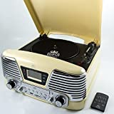 GPO Memphis Record Player / Turntable | Portable, Retro Design Vinyl Player with Built in CDs Player and FM Radio (Cream)