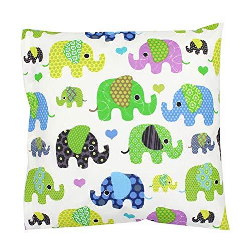 TupTam Kissenhülle Dekorativ Gemustert, Farbe: Elefant Grün, Größe: 80x80 cm -