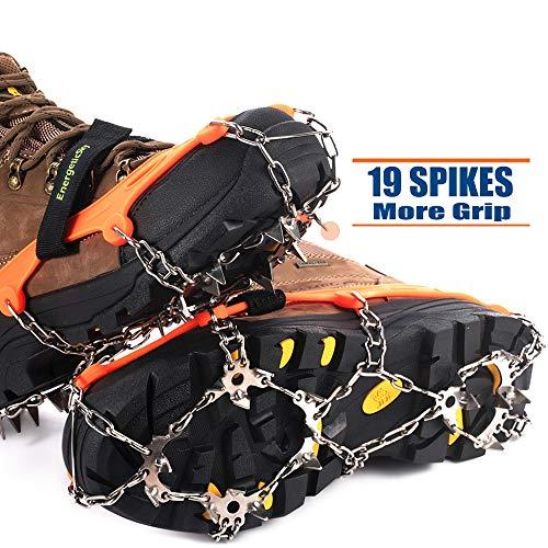 Ice Klampen Steigeisen mit 19 Zähne,Wahre Edelstahl Spikes und langlebiges Silikon,Schuhkrallen Anti Rutsch Schuhspikes für Winter Walking Wandern Bergsteigen. (Orange, L)