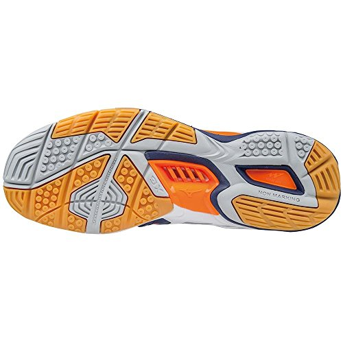Mizuno Herren Wave Stealth American Handball Schuhe Mehrfarbig (White/Bluedepths/Orangeclownfish