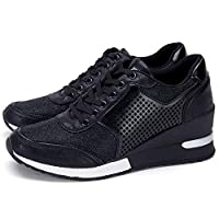 High Heeld Wedge Sneakers for Women - Ladies Hidden Sneakers Lace Up Shoes, Best Chioce for Casual and Daily Wear SM1-BLACK-9