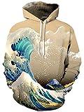 Bfustyle 3D Gedruckt Hoodie Neuheit Wellen Pullover für Herren Damen Damen Unisex Sweatshirt Pullover mit Großer Tasche