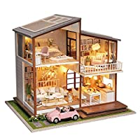 DIY Dollhouse Big villa luxury dollhouse, Dollhouse Miniature with Furniture, Beautiful gift With Music Without Dust Cover for Kids and Adults