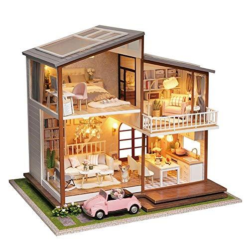 IrahdBowen Miniatur DIY Puppenhaus Küche Kits mit Licht DIY Holz Mini Haus Modell Erwachsene Kinder Cottage Aus Holz Manuelle Montage Dekoration, Kleines Haus Puppenhaus Urlaub Geburtstagsgeschenk -