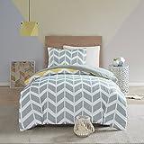 SCM Bettwäsche 135x200cm Grau Gelb Mikrofaser 2-teilig Bettbezug & Kissenbezug 50x75cm Geometrisch Chevron Ideal für Schlafzimmer
