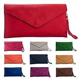 Big Handbag Shop Womens Faux Leather Envelope Clutch Bag with Long Shoulder Strap (Olive Green)