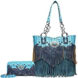 Cowgirl Trendy - Sac à main pour femmes Style Western Avec portefeuille Femme, (Turquoise Set), Large