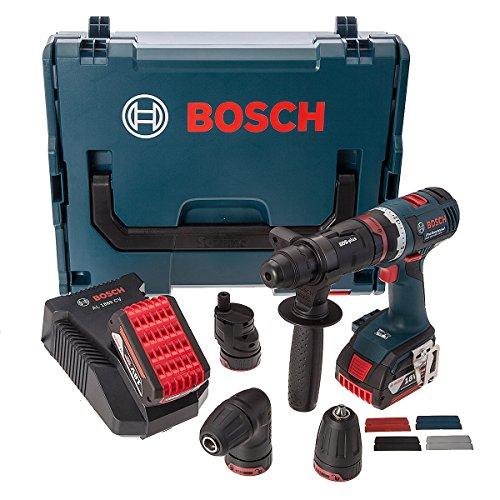 Bosch 06019E1170 FlexiClick Drill/Driver + 4 Chucks, Cordless 18V, Charger,L-Boxx (2 x 4.0Ah Batteries)