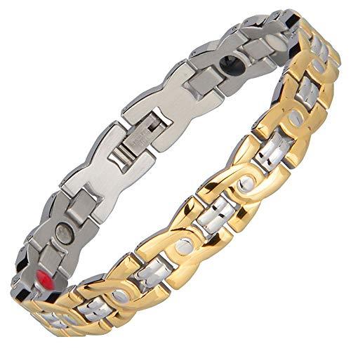 ANLW Auftreibe Gold Magnetarmband Männer Armband Silber Negative Ion Edelstahl Armband