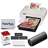 Photo4Less Canon SELPHY CP1300 Compact Photo Printer (White) + Canon KP-108IN Ink and Paper Set + Battery + Photo4Less Cleaning Cloth - Deluxe Value Printing Bundle
