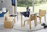 Impag Kindersitzgruppe Buche Natur | Buche Weiß 1 Tisch 2 Stühle 1 Truhenbank mit Deckelbremse (Buche)