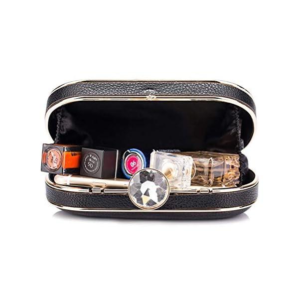 512AsplMbOL. SS600  - BAIGIO Clutch Bolso Fiesta Negro Piel PU, Bolso de Noche Mujer Cartera de Mano Bolso de Embrague con Cadena para Boda…