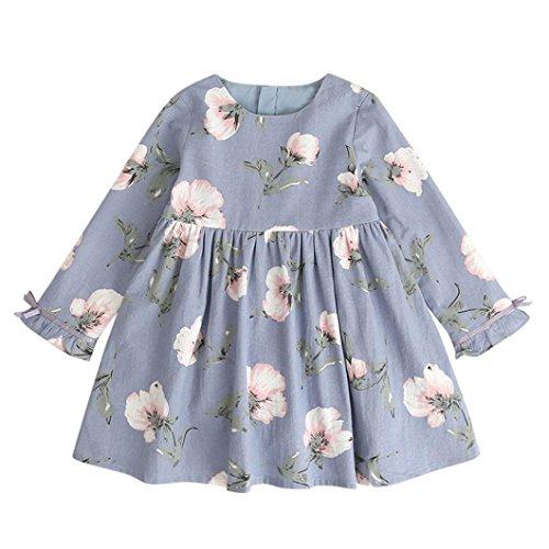 Mädchen Kleider Kinder Kleid Longra Weiches Baumwolle Floral Bowknot Kleid Party Hochzeit Beiläufig Prinzessin Kleider (110CM 4Jahre, Light Blue) (Tier Sleeve Cap)