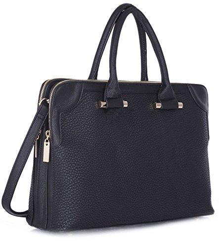 Big Handbag Shop donna a doppio scomparto Maniglia Superiore Borsa a spalla Black (KL365)