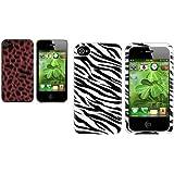 2X Weiß/Schwarz ZEBRA+Rot Furry Leopard Case Tasche Für IPHONE 4 4S