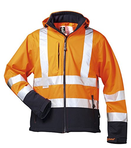 *BILL* WARNSCHUTZ-SOFTSHELLJACKE ELYSEE ORANGE/MARINE, EN 471/3