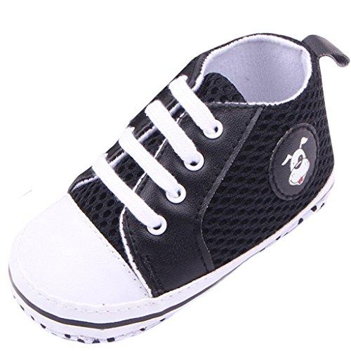 EOZY Baby Mädchen Lauflernschuhe Jungen Sneaker Hundemuster Segeltuchschuhe Schwarz