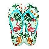 Damen Mädchen Fashion Flamingos Zehentrenner Anti-Rutsch Flip Flops Hausschuhe Sandalen Grün EU 36