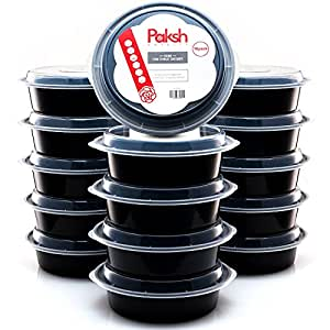 Paksh Novelty Lunch Box Sets / Round Large Food Container with Lid for Meal Prep, Microwaveable, Freezer & Dishwasher Safe, Leak Proof, 24 Ounce, 16 Pack