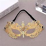 Smx mask Venezianisch/Maskerade Maske/Party Maske/Maskerade / Maskerade Maske/Mardi Gras Maske/Luxus MasqueradeMetallmaske mit Diamant-Halbseite, galvanisiertes Gold