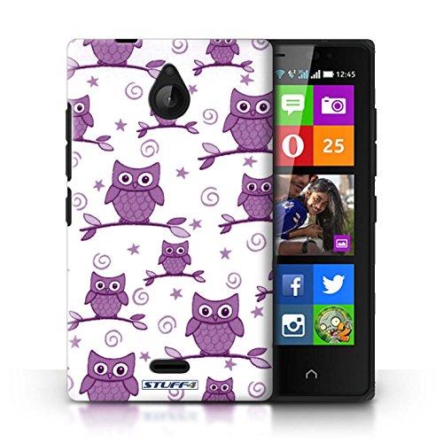 Kobalt® Imprimé Etui / Coque pour Nokia X2 Dual Sim / Violet/Blanc conception / Série Motif Hibou Violet/Blanc