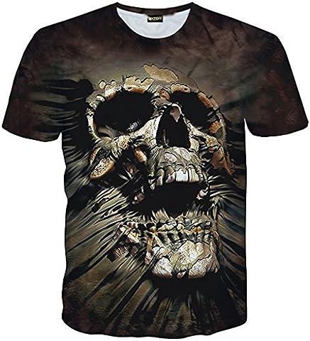 Pizoff Unisex Digital Print T Shirts with skull Galaxy flower leopard tiger cat pig fries Batman cartoon 3D pattern Y1730-J3-S