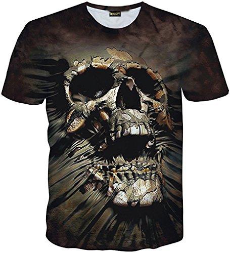 Pizoff Unisex Hip Hop Kurz Schwarz T Shirt mit Ziffer Druckmuster Metall Stern Y1730-J3