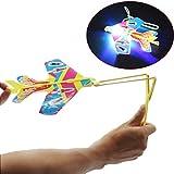 Elecenty Schleuder Spielzeug /Fliegende Spielzeug Pfeil Rakete Copters LED Licht Hubschrauber Fliegen Spielzeug - .. Elastic Powered Sling Shot Heli Schleuder Pfeile Flare Copter (20cm, Mehrfarbig)