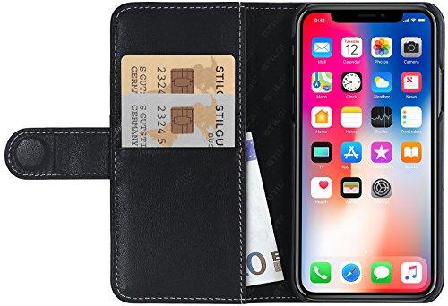 StilGut Leder-Hülle für Apple iPhone XS/iPhone X mit Karten-Fächer, Schwarz Nappa