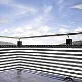 gshhd88 Balcone Schermo Privacy Copertura, Privacy Recinto Schermatura, 0.9x5m Hdpe Resistente alle Intemperie Balcone Scudo Cover con Corda per Balcone, Piscina - Bianco E Nero, Free Size