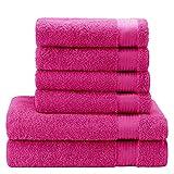 Twinzen ⭐Chemikalien-Frei Handtuch Set (6-Teilig) mit 4 Handtücher und 2 Badetüchern, 100% Baumwolle - Oeko TEX Std 100 Zertifizierung - Weich und Saugstark - Waschmaschinenfest - Schwimmbad