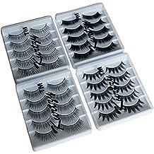 Pestañas Postizas 20 Pares Multipack ReutilizablesExtensiones Plástico Grueso y Negro para Maquillaje Cosmético por Kurtzy -